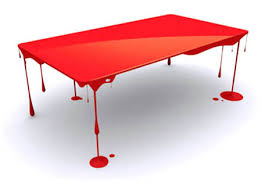Brilliant Blood Red Glossy Art Table Design