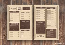 Restaurant Menus Layout Restaurant Menu Layout With Brown Accents Buy This Stock