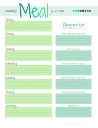 menu planner template free free weekly menu meal planner grocery list download