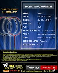 Apacs Virtuoso Light Badminton Racket Details About Apacs Virtuoso Light Badminton Racket Free Maxx String Maxx Grip