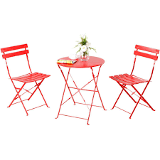 grand patio steel 3 piece outdoor folding bistro table set free today 18985909