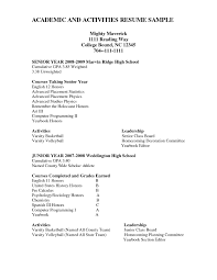 Sample Resume Of High School Student For College Fresh Example