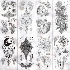 Us 069 30 Offminimal Line Rose Cornflower Waterproof Temporary Tattoo Sticker Totem Cello Flash Tattoos Body Art Fake Arm Tatoo Women In Temporary