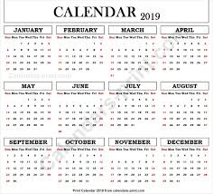 2019 Editable Calendar To Print Free Download Blank Pdf