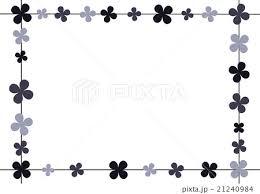 四角いフレーム 花 モノクロのイラスト素材 21240984 Pixta