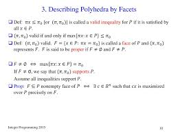 Facets Def I 4 Polyhedral Theory Ppt Download