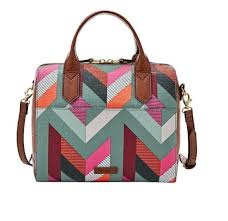 fossil fiona chevron satchel cross blue pink multi pvc leather