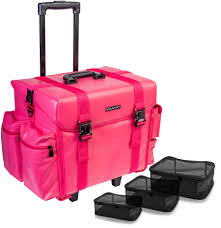 shany makeup artist soft rolling trolley cosmetic case with free set of mesh bags sweetheart