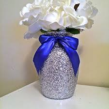 5 silver glitter glass vases with blue bows wedding centerpieces baby shower centerpieces silver decorations