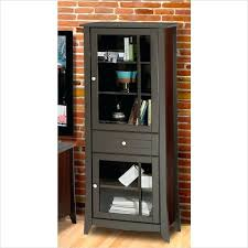 elegance curio cabinet in espresso finish curved glass door corner