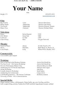 Theater Resume Format Resume Template Directory