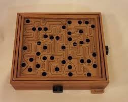Wooden Maze Game With Ball Bearing Vintage ball bearings game Etsy 45