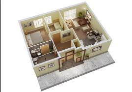3 Bedroom House Plans 3D Design Woodfloorapartment  House 4 Room House Design