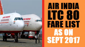 Air India Ltc 80 Fare List As On 20th September 2017