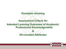Criterion Referenced Assessment on Dissertation  Level   Subject     Examples showing Assessment Criteria for Intended Learning Outcomes of Academic  Professional Knowledge skills  amp