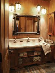 Rustic Bathrooms A Cast Iron Trough Sink With Three Faucets Adds Antique Flair To