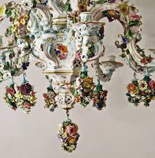 rococo meissen gorgeous chandelier vintage flowers and figurines made circa 1850 1870 for