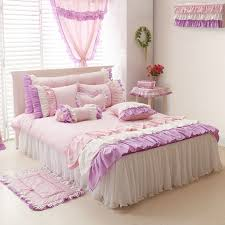purple pink white girls ruffle full queen size duvet cover bedding