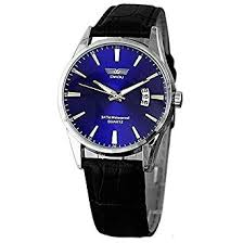 amazon com swidu blue face mens watch w date and black swidu blue face mens watch w date and black leather band