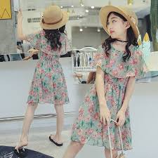 <b>Girls</b> Floral <b>Chiffon Dress</b> Children Summer Off Shoulder Beach ...