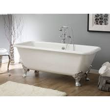 clawfoot bathtub continuous rolled rim no faucet drillings