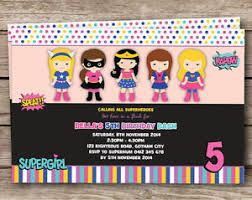 superheroes party invites girl superhero personalised birthday party invitations girly pink