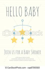 Stars Invitation Template Baby Boy Arrival And Shower Invitation Template With Cot Mobile With Blue Circles And Yellow Stars