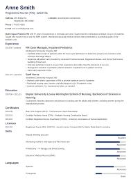Graduate Nurse Resume Template Cv Example Nursing No