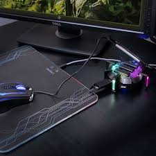 pro mouse bungee cable holder 4 port usb hub with 7 led modes cable management support improved accuracy weighted design for competitive