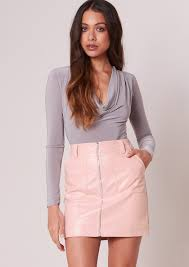 pink faux leather skirts