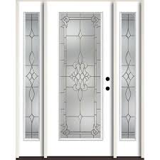 reliabilt stately full lite decorative glass left hand inswing modern white painted fiberglass prehung entry door with sidelights and insulating core