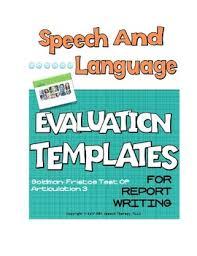 Speech Language Evaluation Templates Goldman Fristoe Test Of Articulation