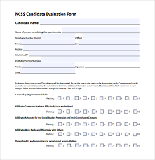 candidate assessment form sample sample candidate evaluation form 9 free documents download in
