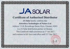 certificates documents Альтернативные источники  ja solar certificate of authorised distributor