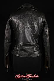 las brando mohawk embossed red indian black cowhide leather motorcycle biker jacket customjackets