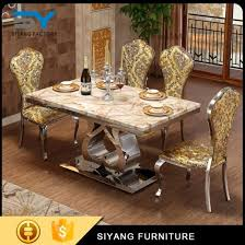 india style old furniture stainless steel marble dining table