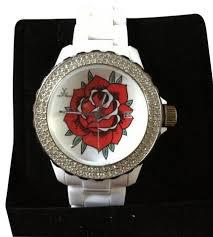 Toy Designer Watch White Rare Designer Rose Tattoo Crystal Bezel Watch 65 Off Retail