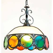Details Zu Groß Leuchter Schmiedeeisen Mit Glas Bunt