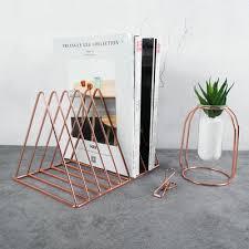 creative modern book holder metal book shelf rose gold office organizer desk doent stand magazine holder