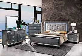 Acrylic bedroom furniture Themed Clover Collection Contemporary Style Gray Finish Led Light Queen Size Bed Classy 4pc Set Dresser Mirror Amazoncom Amazoncom Clover Collection Contemporary Style Gray Finish Led
