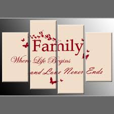 Canvas Wall Art Quotes Simple Family Quote Red On Cream 48Panel Canvas Wall Art 480 Inch 48cm