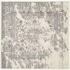 safavieh adirondack plaza ivory silver square indoor lodge area rug common 10 x