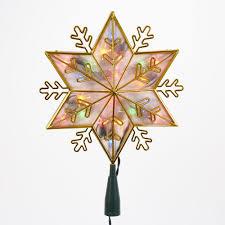 Kurt Adler Ul 20 Light Gold Snowflake Star Treetop With Multi Colored Lights