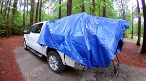 Guide Gear Compact truck tent with tarp cover for BAD weather - YouTube