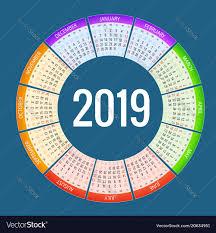 Circle Calendar Template Colorful Round Calendar 2019 Design Print