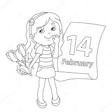 Small Picture Coloring page outline of girl with flowers Valentines day