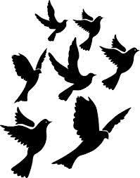 flying birds silhouette wall art sticker decal present gift art doves peace arty on bird silhouette wall art with flight of doves stencil google search crafts pinterest