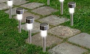 garden path lights. SolarEK Water Resistant Stainless Steel LED Solar Garden Path Lights - Pack Of 16 A