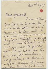 Letter World Letter Sent Home From The First World War By Owen Ashton Of