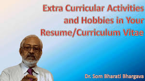Extra Curricular Activities And Hobbies In Your Resume Cv